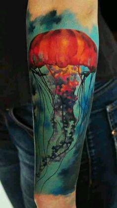 Jelly fish tattoo, man of war tattoo, sea creature, ocean, sea,