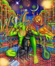 Midnight Toke is an ink illustration celebrating healing properties of Marijuana, Cannabis plant. Pop psychedelic artwork is entwined with symbolism of Ancient Egypt. Psychedelic Art, Cannabis Plant, Art Gris, Alex Gray Art, Alex Grey, Art Hippie, Art Visionnaire, Stoner Art, Yoga Art