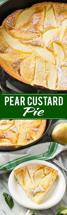 This pear custard might be the easiest dessert you could ever make but it looks and tastes like you spent hours in the kitchen. This pear custard mi Dessert Simple, Easy Desserts, Delicious Desserts, Yummy Food, Desserts With Pears, Pear Custard Pie Recipe, Pear Clafoutis Recipe, Pear Tart Recipe Easy, Custard Powder Recipes