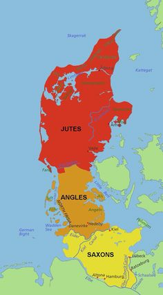 2e250e38300 The peninsula - home of three burgeoning tribes who needed land to expand -  the Saxons  lands were wider-spread than the map shows