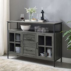 Use our Slate Gray Industrial Sideboard and Buffet to store and display your favorite dishes. The different doors give you plenty of fun storage space. White Buffet Table, Dinning Room Buffet, Kitchen Buffet Cabinet, Dining Room Sideboard, Dining Room Storage, Wood Buffet, Dining Area, Sideboard Decor, Sideboard Cabinet