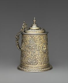 "Gregorius Gunesch  (active ca. 1597). Tankard, late 16th century. Hungarian, Nagyszeben. The Metropolitan Museum of Art, New York. Gift of The Salgo Trust for Education, New York, in memory of Nicolas M. Salgo, 2010 (2010.110.6) | This work is featured in our ""Hungarian Treasure: Silver from the Nicolas M. Salgo Collection"" exhibition on view through October 25, 2015 #HungarianTreasure"