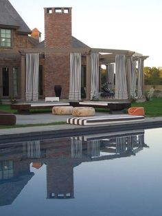 greige design: Outdoor drapery by the pool Outdoor Curtains, Outdoor Rooms, Outdoor Living, Hampton Pool, Transitional House, Plein Air, Backyard Patio, Building Design, Exterior Design