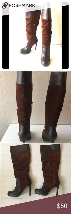 Jessica Simpson Brown Suede Heeled Boots 💕Jessica Simpson Brown Suede Heeled Boots  Size 7 Leather & Suede Absolutely gorgeous & comfortable u can walk in these all day.  The tap on the heel is worn could stand to be replaced. Some wear on the back of the heels. See pic  The boots still looks new like. small unnoticeable stain ✴️Awesome shoes are practically new & worth the fashion investment👠 you will ❤️ them lots of compliments ✴️ Jessica Simpson Shoes Heeled Boots