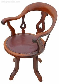 Antique Victorian mahogany and leather desk office elbow swivel chair. Desk Chair, Swivel Chair, Antique Desk, Desk Office, Victorian, Antiques, Leather, Furniture, Home Decor