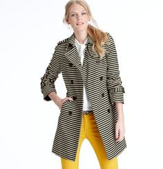 LOFT Petite Corded Dobby Striped Trench