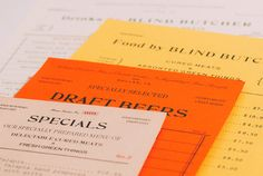 Blind Butcher Menu by Tractorbeam // color combination, menu design