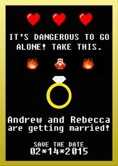 Zelda Printable Save the Date Wedding by PrideAndPrintables