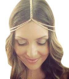 Buy HOT Indian Europeon Female Tassles Hairband 18K Gold Plated Head Chains maang-tikka online