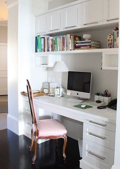 Incorporated into the living/kitchen space- love the shelf for cookbooks and home organization binders
