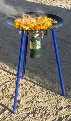 TemboTusk Skottle Grill is based on a Coleman single burner stove and a one pound propane bottle.