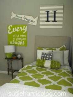Green & grey bedroom
