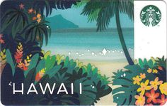 Hawaii Paradise Starbucks Card - Closer Look Starbucks Rewards, Starbucks Gift Card, Member Card, Coffee Cards, Hawaiian, Paradise, Branding, Gift Cards, Illustration
