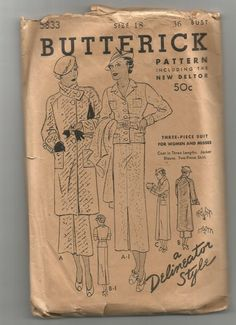 Butterick 5833 | ca. 1934 Three-Piece Suit for Woman and Misses
