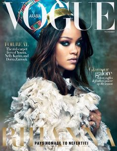 Rihanna pays homage to Egyptian queen Neferneferuaten Nefertiti in the November 2017 issue of Vogue Arabia magazine photographed by Greg Kadel and styled by Anya Ziourova Vogue Covers, Vogue Magazine Covers, Fashion Magazine Cover, Fashion Cover, Greg Kadel, Rihanna Vogue, Rihanna Fenty, Rihanna Fashion, Rihanna Makeup