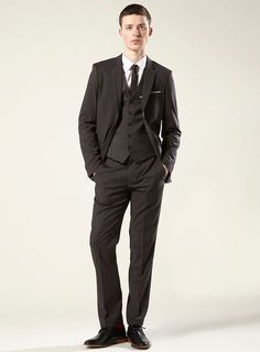 2 Button Charcoal Suit with a Vest Super 150's Italian Wool Pick ...