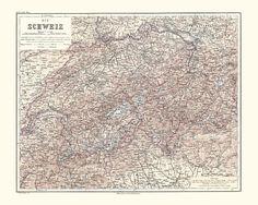 Switzerland Antique Map Reproduction / Old Map Print of Switzerland