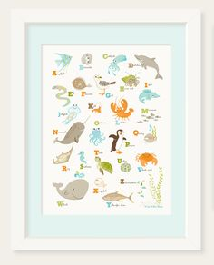 POSTER - Sea & Shore Alphabet (12x16) - nursery art for children