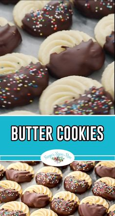 Butter Cookies are a classic favorite holiday cookie but they're also great all year around! Butter Cookies are a classic favorite holiday cookie but they're also great all year around! Holiday Cookie Recipes, Chocolate Cookie Recipes, Easy Cookie Recipes, Holiday Desserts, Holiday Baking, Easter Recipes, Cookies Dipped In Chocolate, Easter Baking Ideas, Christmas Dessert Recipes