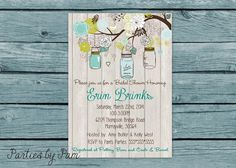 Bridal Shower Invite Rustic Vintage Theme in Blue Mason Jars Baby Shower DIY