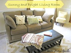 sunny, bright, living room, reveal