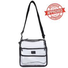Stadium Compliant - Great for NFL Football Games, College Football Games, Concerts, NASCAR, Casinos, and much more! All Clear Design. Medium Sized Transparent Bag with Zipper. Adjustable Shoulder Strap. | eBay!