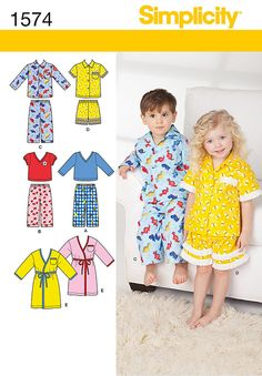 KIDS PAJAMAS PATTERN / Make Pajamas - Pjs / Sizes Toddler 1/2 To Child 4 / Boy - Girl