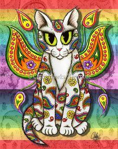"""""""Rainbow Paisley Fairy Cat"""" par Carrie Hawks"""