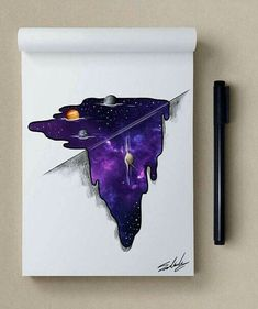 melting galaxy drawing