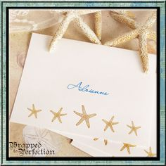 Starfish Note Cards / 10 Notecards / Beach by WrappedToPerfection, $13.00