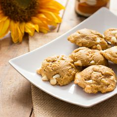 Soft, moist pumpkin cheesecake cookies loaded with white chocolate chips.