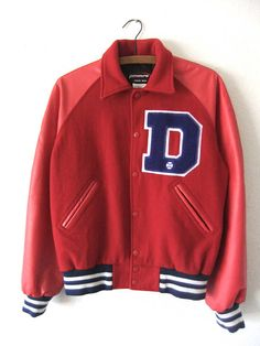 Circa: 90s Label: Powers Varsity Jackets Marked Size: S Estimated Size: Mens Small Please see measurements for best fit. Color: Red, Blue Fabric: Wool, Leather Condition: Used Vintage, spots at bottom left sleeve, please see 5th photo  Laid Flat CHEST: 23 SLEEVE INSEAM: 20 LENGTH: 26  ---------------------------------------- For More Jackets and Coats Check Here: https://www.etsy.com/shop/BuddyBuddyVintage?section_id=14154151 New Items Added Daily: https://w...