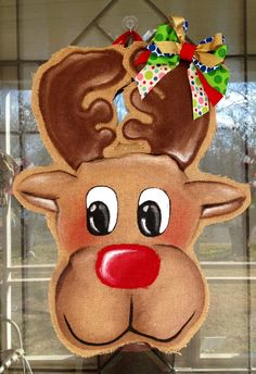 100% Custom Made to Order Burlap Reindeer  Door Hanger.