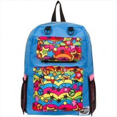 Chase Light Blue Backpack with Peace Dream Multi and Pink Pockets by AttachaPack