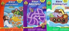 Bible Dot-to-Dots ABCs, Mazes and Printing Fun Set of 3 Activity Books Brand NEW