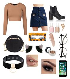 """""""Cute cat outfit"""" by nicoleagui on Polyvore featuring Barneys New York, Betsey Johnson, Miss Selfridge, Manokhi, Essie, Urban Decay and NARS Cosmetics"""