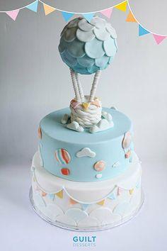 Love this hot air balloon cake for a bridal shower!