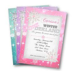 Winter onederland birthday invitation snowflakes by PinkPopRoxx