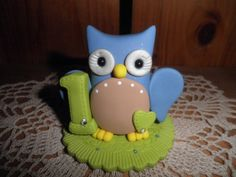 Polymer Clay Owl-Personalized Babys First Birthday Owl Cake Topper/Keepsake/Gift. $14.00, via Etsy.