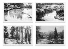 """Four Seasons Suite. B&W 9"""" x 12"""" Copper Plate Etching Set of 4. By Jay Moore"""