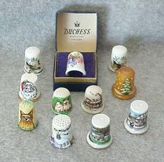 11 Vintage THIMBLES 9 Porcelain 1 Wood 1 by ClassicMidCentury, $30.00