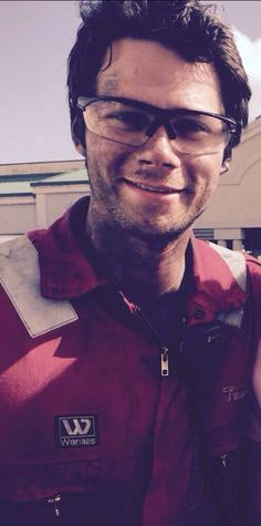 Dylan O'Brien on set of the movie Deepwater Horizon