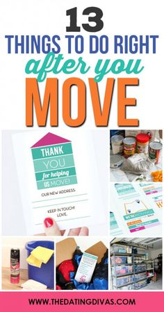 13 Things to do RIGHT After You Move - great moving tips, ideas, and advice including moving planning, packing ideas and hacks, and more. From The Dating Divas Unpacking After Moving, Moving List, Moving House Tips, Moving Checklist, Moving Home, Moving Day, Moving Hacks, Unpacking Tips, Moving Planner