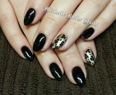 Cheetah print gel polish nails