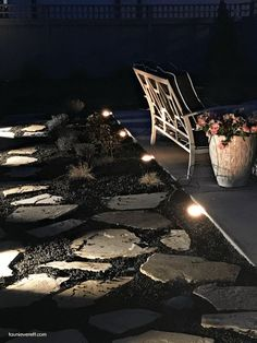 DIY Landscaping Lights for Sidewalks and Pathways