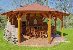 Pergola For Small Backyard Gazebo Roof, Pergola Patio, Backyard Landscaping, Backyard Kitchen, Outdoor Kitchen Design, Patio Design, Balcony Design, Outdoor Gazebos, Outdoor Structures