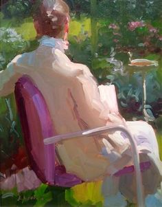 """⊰ Posing with Posies ⊱ paintings of women and flowers - """"Linen Jacket"""" by Dennis Perrin Chiaroscuro, Selling Art, American Artists, Painting Inspiration, Figurative, Cool Art, Art Ideas, Original Art, My Arts"""