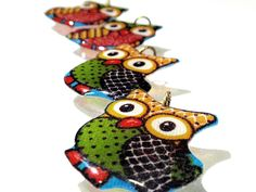 Patchwork #Owl #Charms #Handmade Acrylic #Resin #Vintage Fabric Limited Edition Birds Aviary Owls Fowl Dangles Pendants Ready to Ship A3 by TUTreasures on Etsy