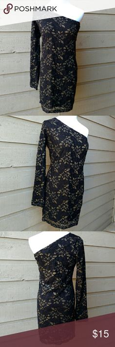 NWOT Forever 21 One Shoulder Party Dress NWOT Forever 21 sparkling gold floral one shoulder party dress size large.  Great condition, never worn.  Lots of stretch to the material.  Gold floral design on top of lace black. Lining underneath. 23 inch arm. 15 inch bust. 30 inches whole length. Material: Shell 88% nylon, 8% spandex, 4% metallic. Lining 95% polyester, 5% spandex. Forever 21 Dresses One Shoulder