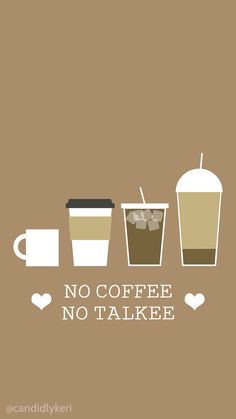 No Coffee No Talkee cute cartoon coffee, latte, iced coffee wallpaper you can download for free on the blog! For any device; mobile, desktop, iphone, android!